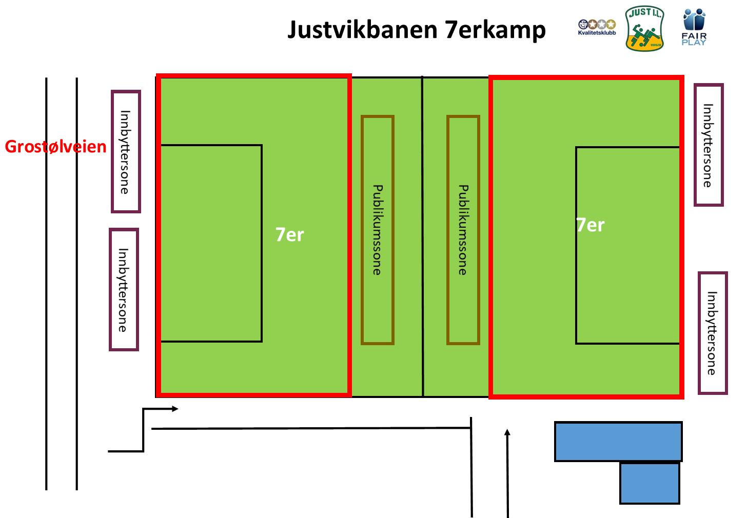 Baneinndeling Justvikbanen 7erkamper