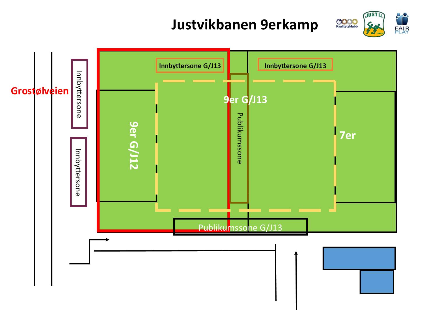 Baneinndeling Justvikbanen 9erkamper